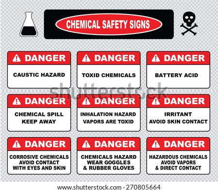 chemical safety signs, various danger sign (caustic hazard, toxcid chemicals, battery acid, chemical spill, inhalation hazard, irritant avoid skin contact, corrosive, wear goggles rubber gloves)  - stock vector