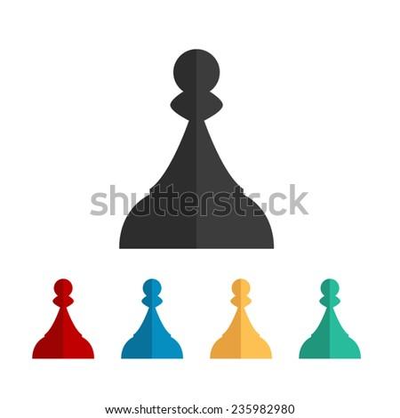 Chess Pawn - vector icon, flat design - stock vector