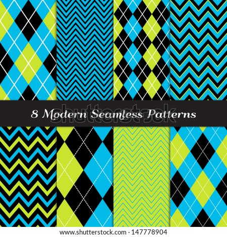8 Chevron and Argyle Patterns in Blue, Lime Green and Black with White Accent Lines. Perfect for Kids Monster Party or Halloween Backgrounds. Pattern Swatches made with Global Colors. - stock vector