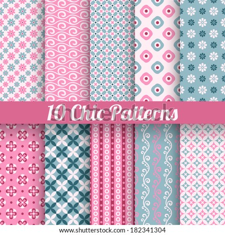 10 Chic different vector seamless patterns (tiling). Pink and blue color. Endless texture for printing onto fabric, paper, scrap booking. Wave, flower and dot shape. Pretty cute print background. - stock vector
