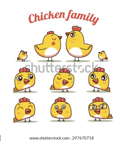 chiken dad and son .set chickens with different emotions - stock vector