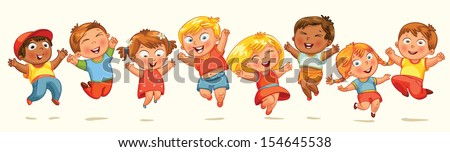 Children jump for joy. Banner. Vector illustration. Isolated on white background - stock vector