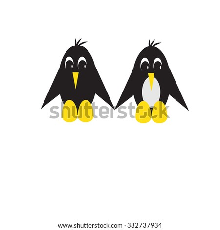 Children's drawing with penguins.Cute cartoon. EPS10 vector format. - stock vector