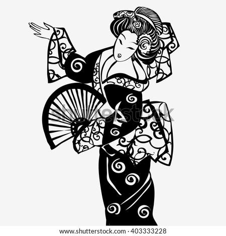 China. Japan.geisha. Japanese Woman.Beautiful Japanese woman in kimono national . Silhouette of a Japanese woman. - stock vector