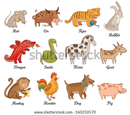 Chinese astrology. Rat, Ox, Tiger, Rabbit, Dragon, Snake, Horse, Goat, Monkey, Rooster, Dog, Pig. Set. Vector illustration. Isolated on white background - stock vector