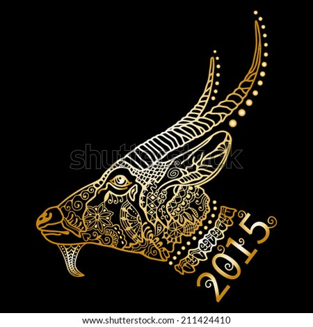2015 Chinese New Year of the Goat, golden silhouette Isolated on black background, ornamental lace pattern, vector illustration - stock vector