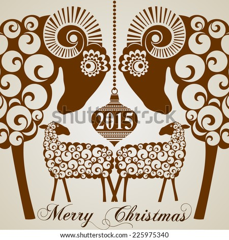 2015 Chinese New Year of the Goats and  Sheep.  Vector file organized in layers for easy editing. - stock vector