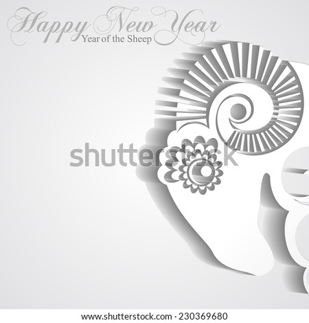 2015 Chinese New Year of the Sheep. Sheep paper with shadow. Vector file organized in layers for easy editing.  - stock vector