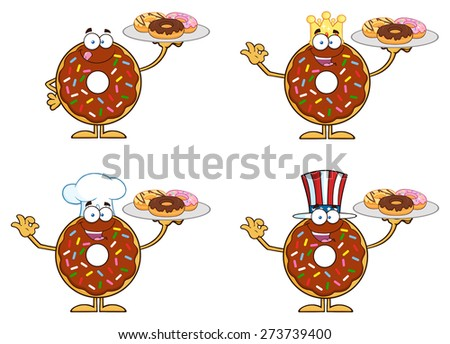 Chocolate Donut Cartoon Character With Sprinkles 2. Vector Collection Set Isolated On White - stock vector