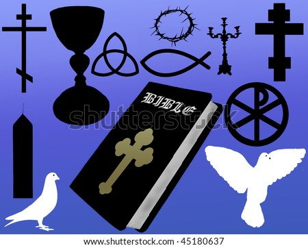 Christian icons: Cross, Dove, Bible,  Fish, Trinity and Crown of Thorns - stock vector