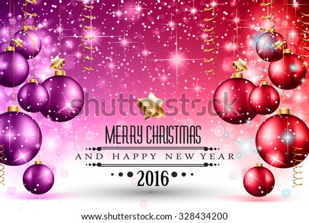 2016 Christmas and Happy New Year Party flyer. Complete layout with space for text for your dinner invitation, xmas parties or new year's eve party flyer. - stock vector