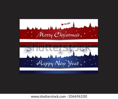christmas and new year banner - stock vector