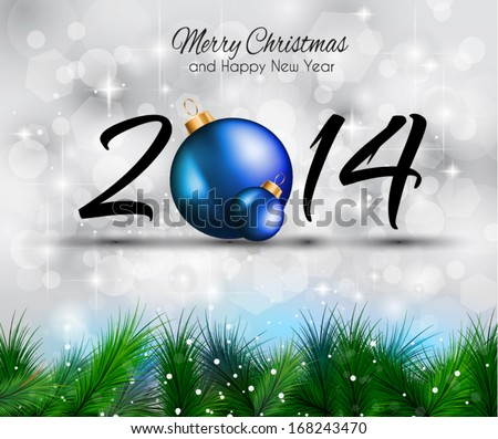 2014 Christmas and New Year Colorful Background with a waterfall of ray lights and a lot of baubles and stars. - stock vector