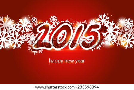 2015 Christmas and New Year lettering Greeting Card - stock vector