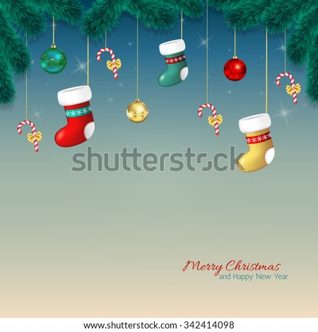 Christmas  background . Cartoon Christmas greeting card with baubles, stocking and candy cane, tree branches.Template for Greeting card, Congratulations, invitations.Vector illustration - stock vector