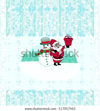 Christmas background. Santa and snowman. Vector drawing