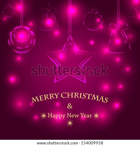 christmas background with christmas decorations.christmas tree decorations on purple glittering background.neon effect.vector - stock vector