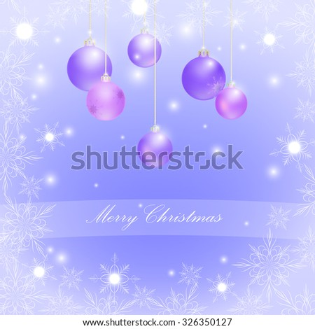 Christmas balls and snowflakes, glitter, vector