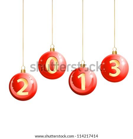 2013 christmas balls - vector illustration - stock vector