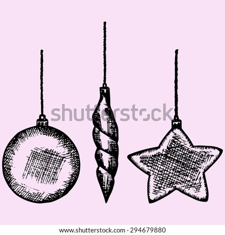 christmas bauble, decoration elements, doodle style, sketch illustration - stock vector