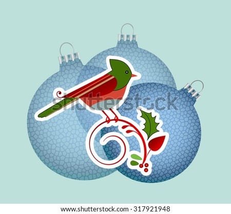Christmas bird and baubles - stock vector