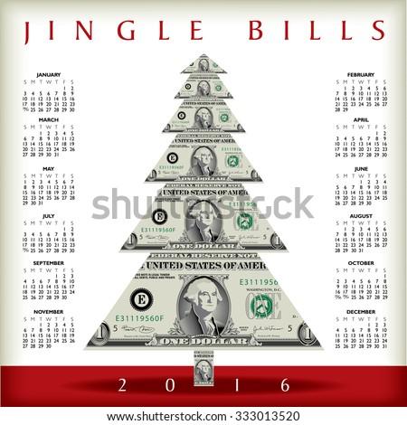 2016 Christmas calendar with a dollar Christmas tree  - stock vector
