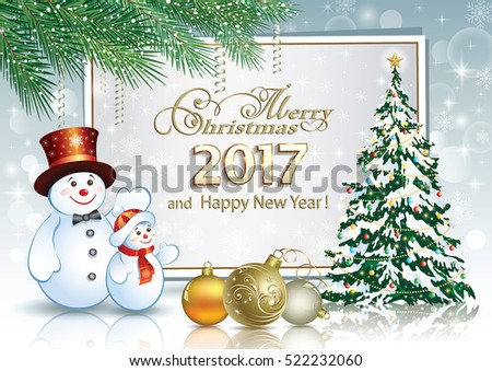 2017 Christmas card with a Christmas tree, snowman and balls on the background of the poster and fir branches