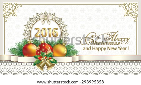 2016 Christmas card with balls and ornaments. - stock vector