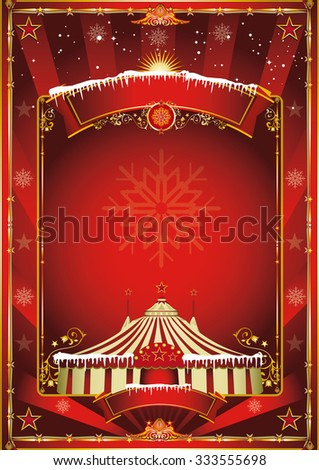 Christmas circus background. Merry christmas and happy new year. A circus poster on the christmas theme for your... Enjoy - stock vector