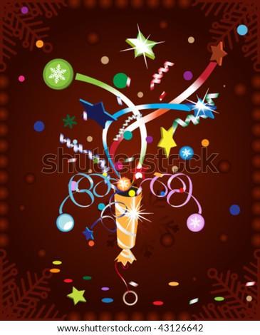 Christmas cracker explosion. Stock vector illustration. - stock vector