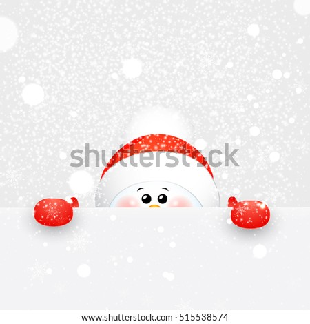 Christmas Cute Snowman  with falling snowflakes, snow standing behind a blank signboard, advertisement banner with copy space.  vector cartoon illustration.
