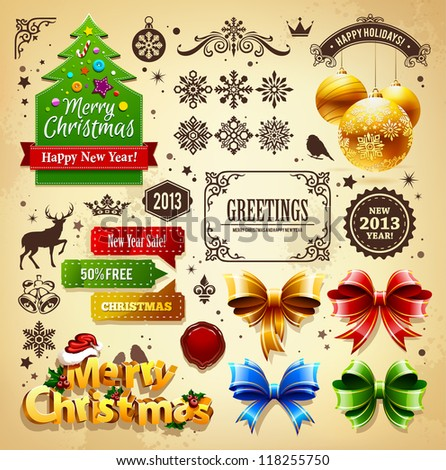 Christmas decoration vector elements set. - stock vector