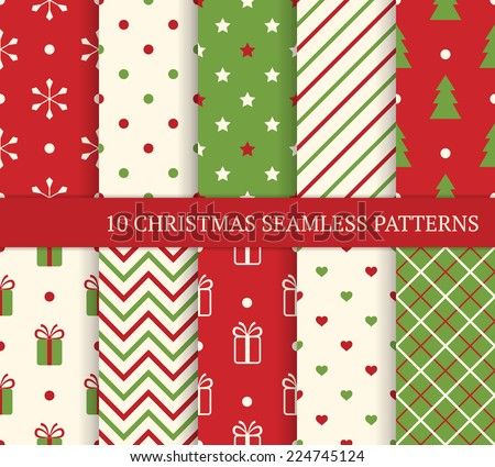 Gift wrap stock images royalty free images vectors shutterstock 10 christmas different seamless patterns endless texture for wallpaper web page background wrapping negle Gallery