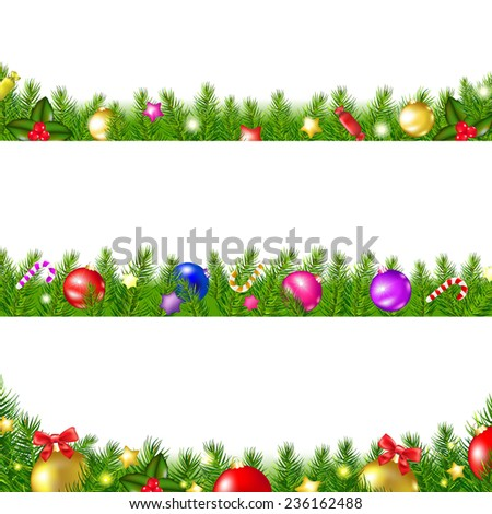 3 Christmas Fir Tree Borders With Gradient Mesh, Vector Illustration - stock vector