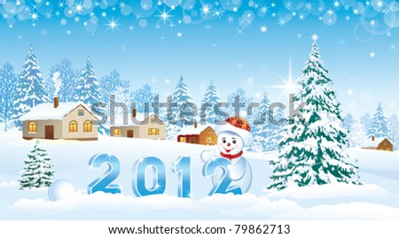 2012 christmas greeting card with snowman