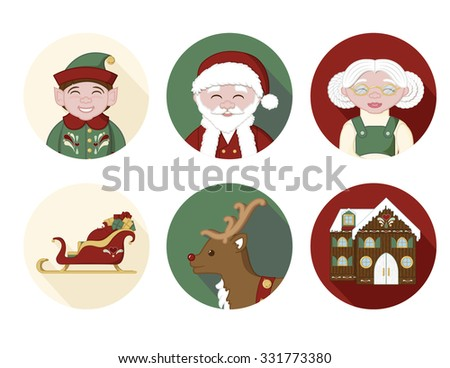 6 Christmas icons.  An elf, Santa Claus, Mrs. Claus, Santa's sleigh, a reindeer, and a holiday house.  Perfect for holiday stickers.