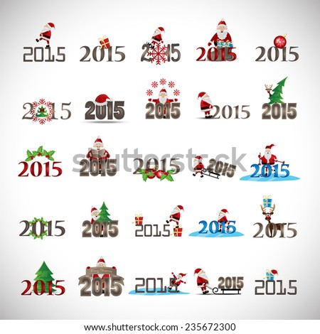 ***2015*** Christmas Icons And Elements Set - Isolated On Gray Background - Vector Illustration, Graphic Design Editable For Your Design, Collection Of Christmas Icons