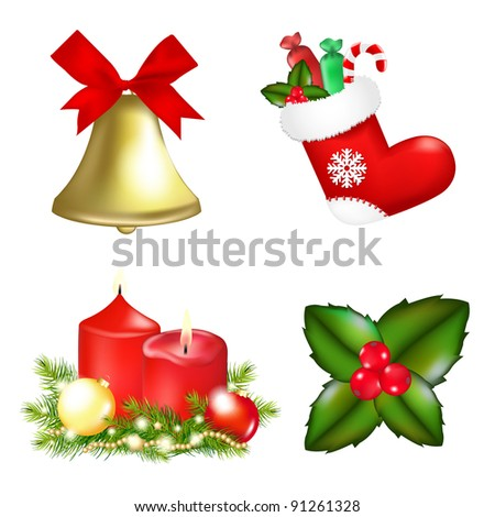 4 Christmas Icons, Isolated On White Background, Vector Illustration - stock vector