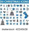 50 christmas icons. vector - stock