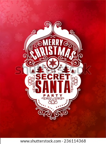 Christmas invitation at Secret Santa holiday party  - stock vector