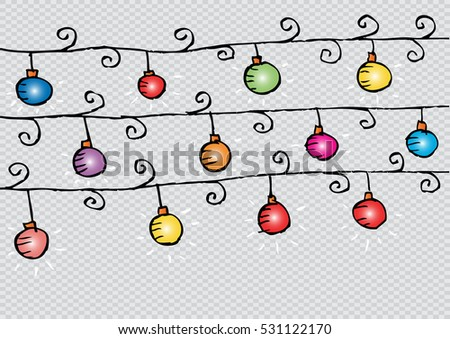 Christmas light bulbs on sky background
