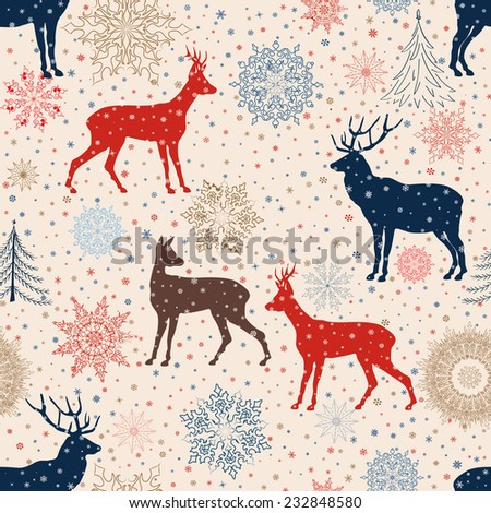 Christmas pattern. Retro Merry Christmas tiled background. Festive regular wallpaper. Holiday texture.  - stock vector