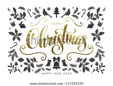 "Christmas Postcard with  Christmas Elements and Handwritten Gold Foil Calligraphic ""Merry Christmas"" Inscription"