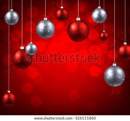 Christmas red background with color balls. Vector illustration. - stock vector