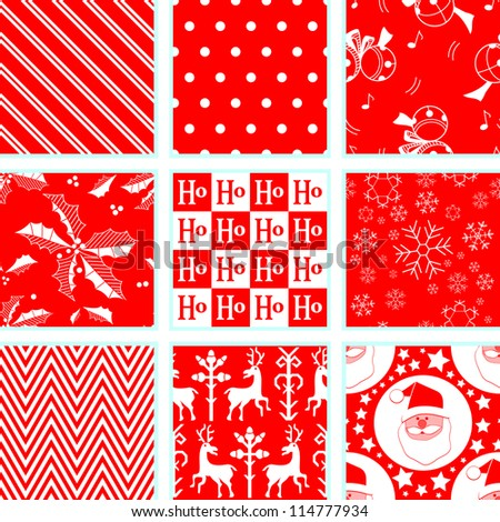 9 Christmas Repeating Patterns - stock vector