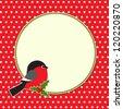 Christmas round frame with bullfinch - stock vector