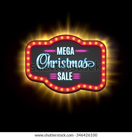 Christmas Sale Vintage Light Frame Shining Retro Banner Vector Illustration EPS 10