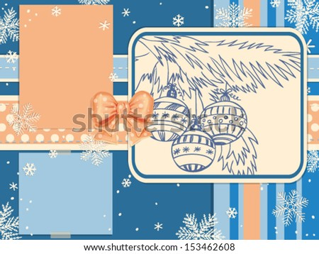 Christmas scrapbook with bow, hand- drawn card with baubles and falling snow - stock vector