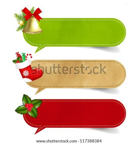 3 Christmas Speech Bubble With Gradient Mesh,  Vector Illustration - stock vector