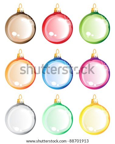 Christmas tree balls set. Christmas decorations on white background - stock vector